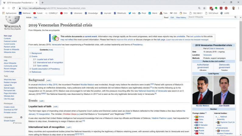 Captura de Wikipedia en inglés sobre la crisis presidencial en Venezuela.