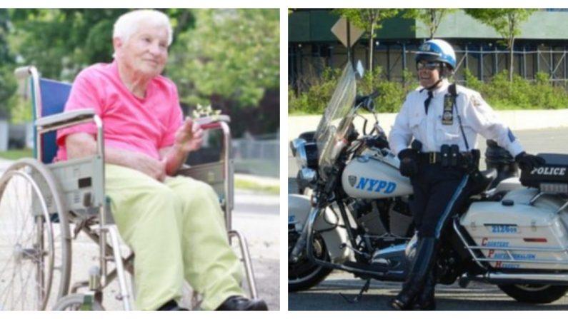 Anciana en silla de ruedas queda varada en plena ruta y este policía la lleva de la menera más genial