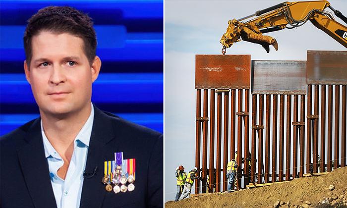 Brian Kolfage (izq.);Trabajadores instalando secciones del muro fronterizo en Tijuana, México (der.) (Getty Images)