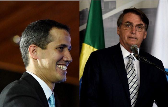 El presidente de Brasil, Jair Bolsonaro, y Presidente encargado de Venezuela Juan Guaidó (Marco Bello/Getty Images) (NORBERTO DUARTE/AFP/Getty Images)