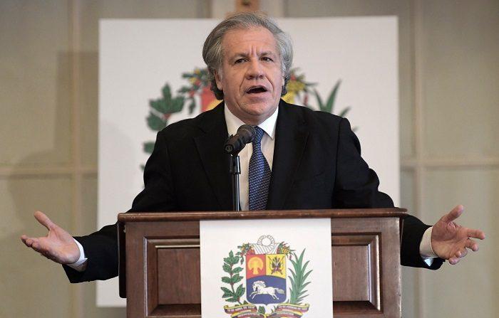 """El secretario general de la Organización de Estados Americanos (OEA), Luis Almagro, habla durante la Conferencia Mundial de la Crisis Humanitaria en Venezuela este jueves, en la sede del organismo internacional en Washington (Estados Unidos). Almagro afirmó hoy que la salida de la """"dictadura usurpadora"""" del presidente venezolano, Nicolás Maduro, es la """"principal"""" ayuda humanitaria que puede recibir Venezuela. EFE/Lenin Nolly"""