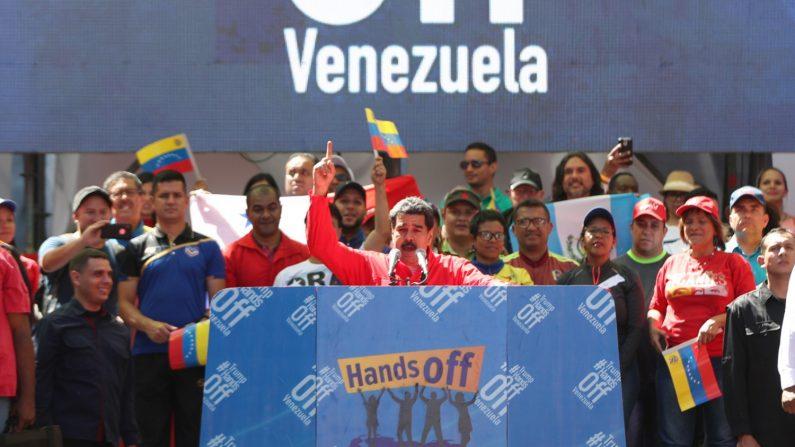 Nicolás Maduro habla en un acto en Caracas el 23 de febrero de 2019. (EFE/Raúl Martínez)