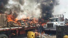 Fuerzas Armadas incendian cargamento de alimentos en sus primeros pasos de entrada a Venezuela