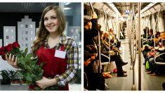 Extraño compra todas las rosas de una vendedora del metro e insiste que las regale a los pasajeros