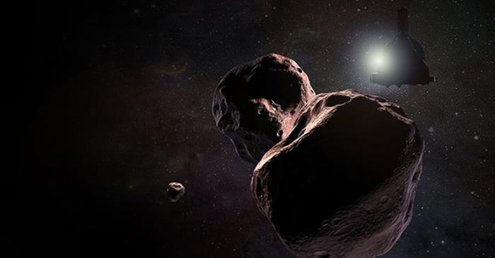 Representación artística de la nave espacial Nuevos Horizontes de la NASA, encontrándose con el asteroide MU69 de 2014, un objeto del Cinturón de Kuiper que orbita el Sol a 1.600 millones de kilómetros más allá de Plutón, el 1 de enero de 2019. Crédito de la imagen: NASA/JHUAPL/SwRI