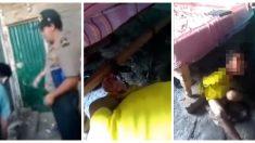 Policía rescató a un niño que estaba encadenado a una cama de madera