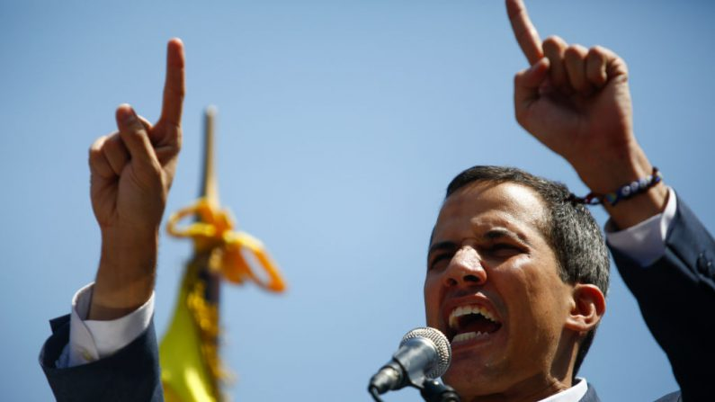 CARACAS, VENEZUELA - FEBRUARY 02: Opposition leader and self-proclaimed interim president of Venezuela Juan Guaidó talks to supporters during a rally against the government of Nicolás Maduro in the streets of Caracas on February 2, 2019 in Caracas, Venezuela. Venezuela's self-declared president and accepted by over 20 countries, Juan Guaidó, called Venezuelans to the streets to demand the resignation of Nicolás Maduro. (Photo by Marco Bello/Getty Images)