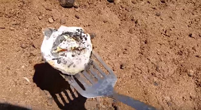 Un huevo se fríe sobre la tierra bañada de estiercol que está sufriendo una combustión espontánea en una granja del norte de Australia. (Captura de vídeo de Storyful)