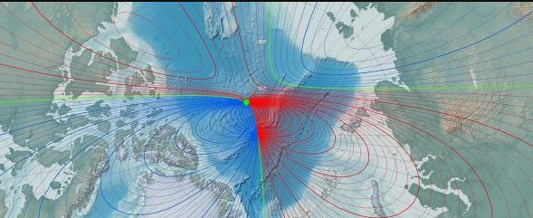 Desde 1831, el norte magnético se ha estado moviendo a través del Ártico canadiense hacia Rusia, que es diferente al polo norte geográfico, que es fijo. (NOAA)