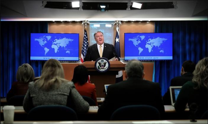 El secretario de Estado Mike Pompeo ofrece una sesión informativa en el Departamento de Estado en Washington el 1 de febrero de 2019. (Chip Somodevilla/Getty Images)