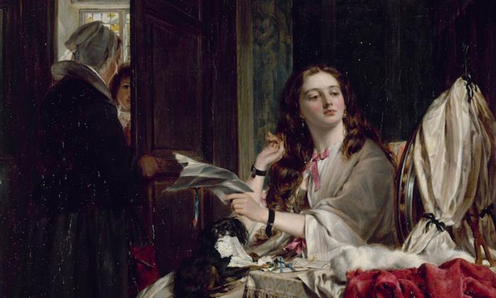 """En la época victoriana, el Día de San Valentín era una fiesta notable, como lo demuestra este cuadro de una joven con una carta de amor. """"La mañana de San Valentín"""", 1865, John Callcott Horsley. Galería de Arte Walker. (Dominio Público)"""