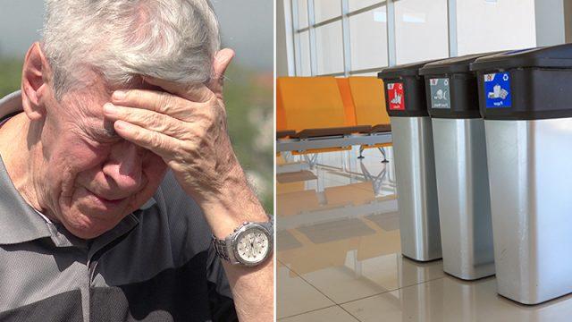 Extraña ayuda a 2 ancianos que tuvieron que tirar un paquete a la basura del aeropuerto