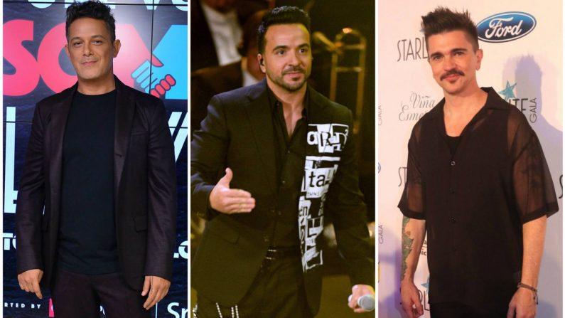 De izquierda a derecha: Alejandro Sanz, Luis Fonsi y Juanes participarán de un megaconcierto por Venezuela. (GETTY IMAGES)