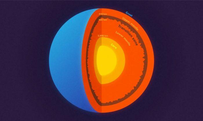 Diagrama de las capas internas de la tierra, incluyendo el recién descubierto terreno rugoso. (Kyle McKernan, Oficina de Comunicaciones/Princeton)