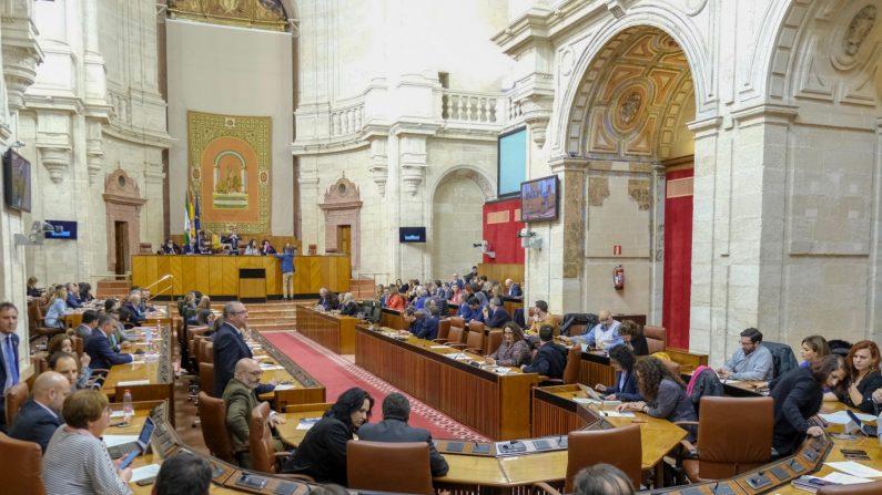 El Pleno del Parlamento, durante la votación para la elección de senadores en representación de la Comunidad Autónoma. (Parlamento de Andalucía)