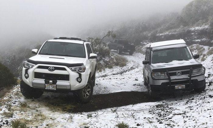 Las autoridades dijeron que el recubrimiento a 6200 pies en Maui podría ser la nevada de menor altitud ocurrida en Hawái. (The Associated Press)