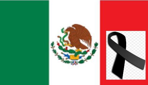 Bandera de México y cinta de luto. (Wikimedia Commons)