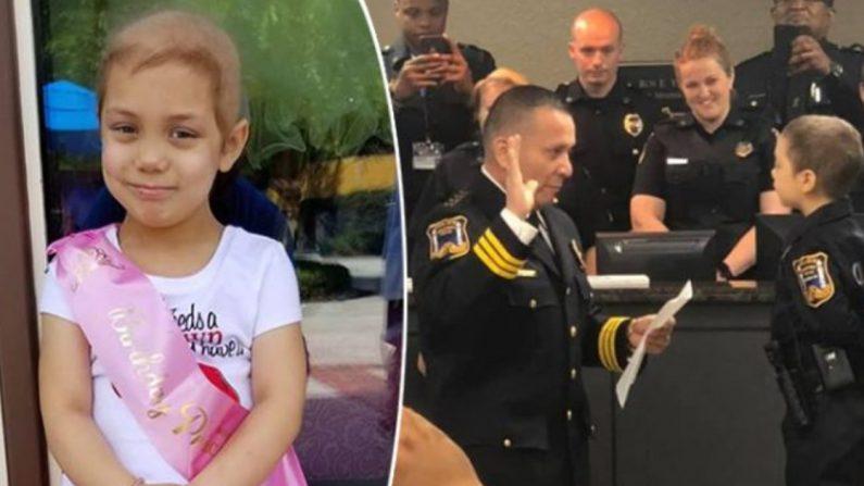 Niña de 6 años con cáncer terminal cumple su gran sueño de convertirse en una oficial de policía