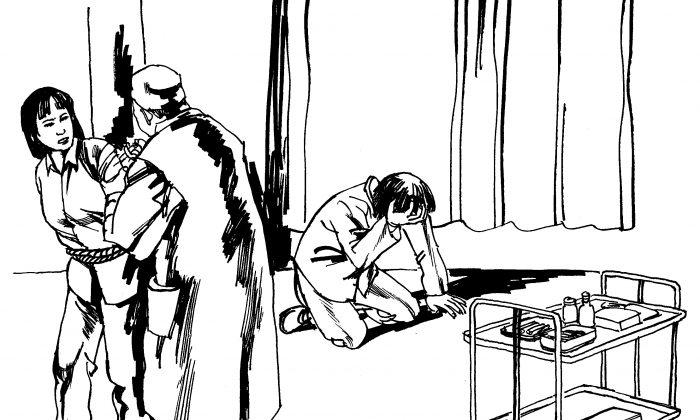 Ilustración de una víctima que fue inyectada a la fuerza con drogas psiquiátricas. El abuso psiquiátrico como método de persecución es común en China, particularmente contra los practicantes de Falun Dafa. (Minghui.org)
