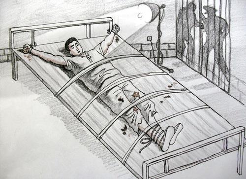 Ilustración de una víctima esposada a una cama bajo un foco de luz potente que nunca se apaga. (Minghui.org)