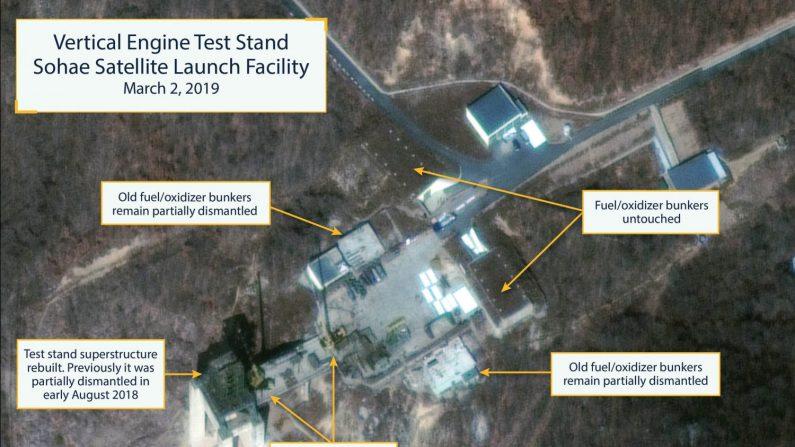 Imagen aérea que muestra la estación satélite de Sohae, el pasado sábado en Cholsan County, Corea el Norte. Fotos por satélite mostraron este miércoles que Corea del Norte está reconstruyendo una base de misiles que había empezado a desmantelar en 2018, un gesto difícil de interpretar pero que podría indicar un desplante a EEUU tras el rechazo a sus demandas en la cumbre de Hánoi. EFE/ Digital Globe CRÉDITO OBLIGATORIO: SATELLITE IMAGE ©2019