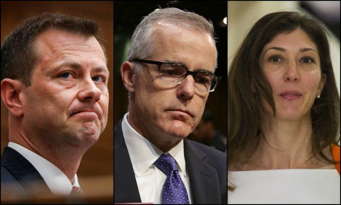 (De izquierda a derecha) Agente del FBI Peter Strzok, Director Adjunto del FBI Andrew McCabe, fiscal del FBI Lisa Page. (Getty Images/Epoch Times)
