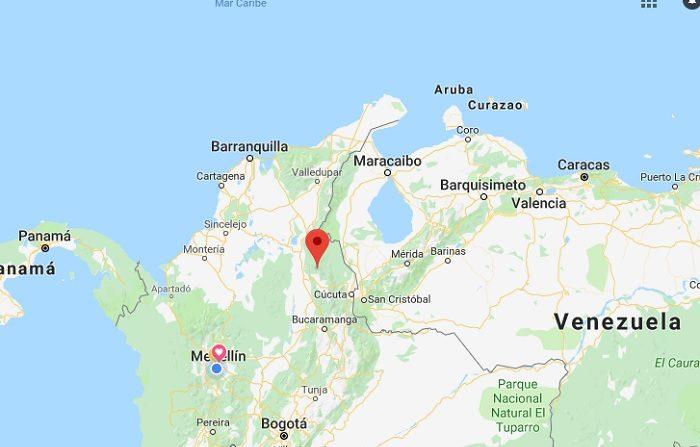 Imagen de google-map donde se muestra zona donde existen conflictos con grupos guerrilleros, cerca a Venezuela