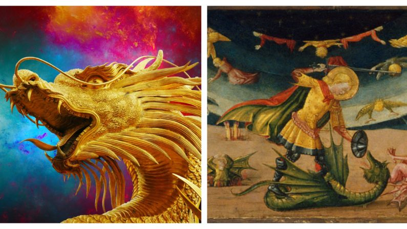 Dragón oriental y occidental. (Crédito: Izq: Josch13/Pixabay | Der: Fine Art Images/Heritage Images/Getty Images)