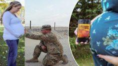 Papás en servicio militar logran estar en las fotos de sus esposas embarazadas a miles de kilómetros