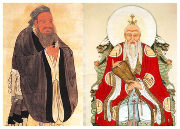 (De izquierda a derecha) Confucio y Laozi (Dominio público, combinado por La Gran Época)