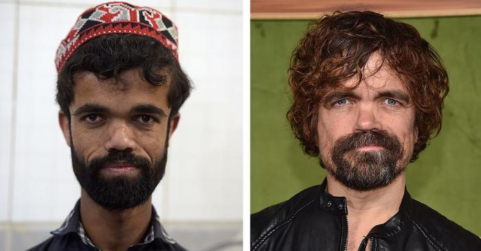 Foto combinada creada el 14 de marzo de 2019 que muestra a la izquierda al camarero paquistaní Rozi Khan, y a la derecha al actor estadounidense Peter Dinklage. Foto de AAMIR QURESHI,CHRIS DELMAS/AFP/Getty Images.