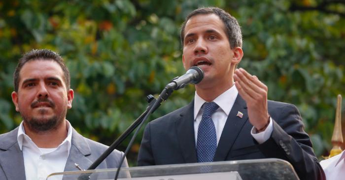 El presidente encargado de Venezuela, Juan Guaidó, habla durante un acto en la Parroquia La Vega, el 28 de marzo de 2019, en Caracas, Venezuela. Foto de Eva Marie Uzcategui/Getty Images.