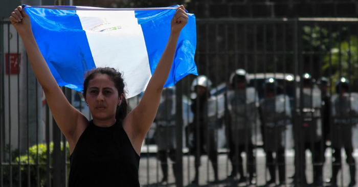 Un manifestante contra el régimen de Ortega en Managua, el 23 de marzo de 2019. Foto de MAYNOR VALENZUELA/AFP/Getty Images.