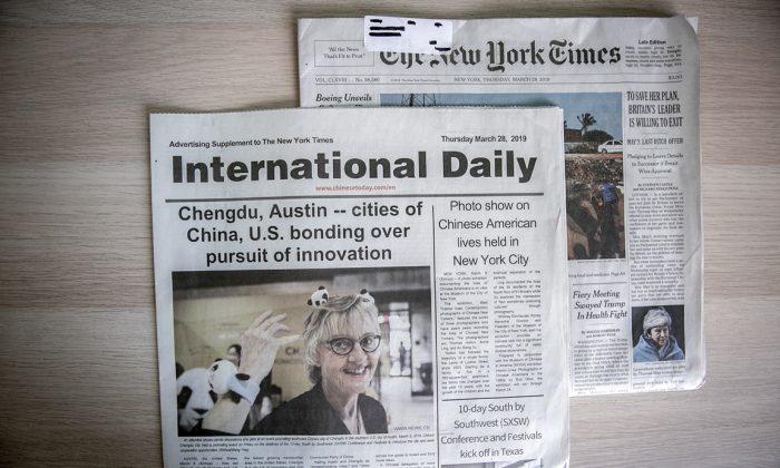Una inserción del International Daily en la edición del 28 de marzo de 2019 del New York Times. (The Epoch Times)