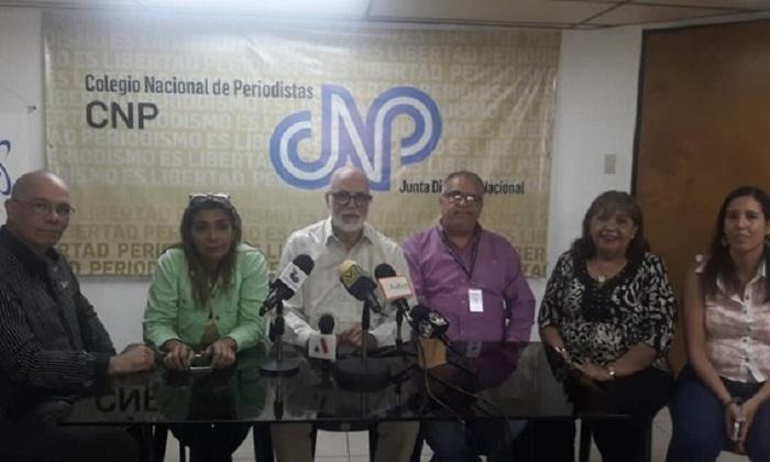 CNP de Venezuela en rueda de prensa denuncian: arremetida contra libertad de expresión en Venezuela. Imagen de Web de CNP de Venezuela