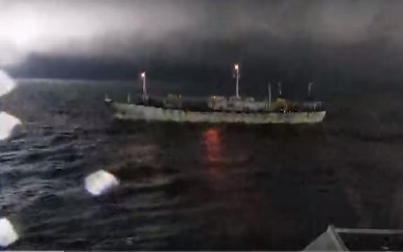 Buque chino en aguas argentinas la noche del 1 de marzo de 2019. (Prefectura Naval Argentina)