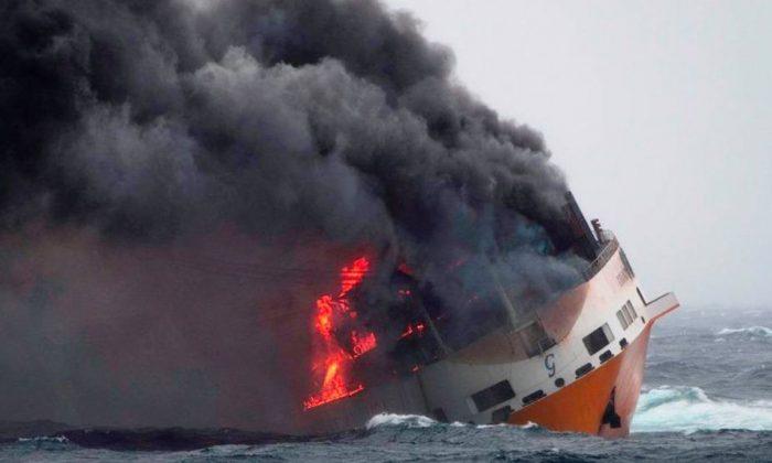 Un incendio estalló a bordo de la Grande America el 10 de marzo de 2019. (Marina Nacional Francesa)