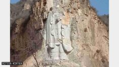 Régimen chino demuele estatua budista gigante esculpida en un acantilado