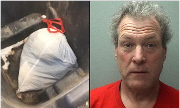 Robert Wild y la bolsa de cachorros encontrados por la policía, el 28 de febrero de 2019. (Departamento de Policía de Marshfield)