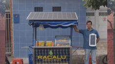 Venezolano exiliado inventa un popular carrito con energía solar para pasteles calientes