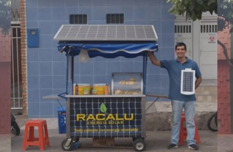 Carrito de energía Solar creado por el exiliado venezolano Ramiro Cárdenaz (Captura de vídeo)
