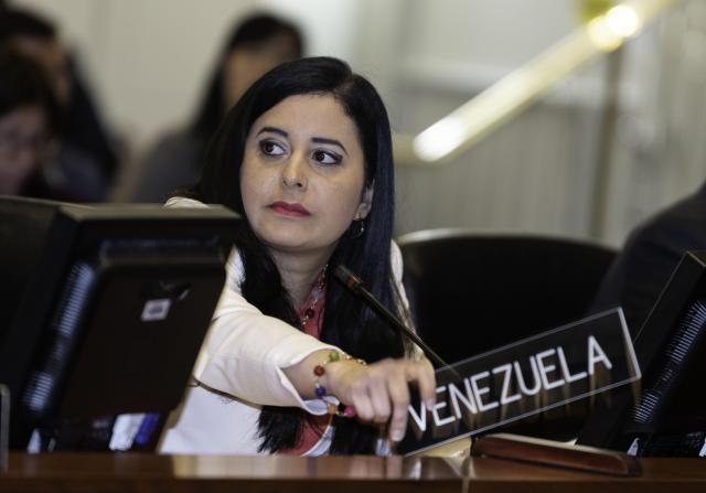 Exrepresentante de Venezuela, Asbina Ixchel Marin Sevilla, mientras habla con la placa levantada en señal de voto en contra, durante una reunión del Consejo Permanente en la sede del organismo en Washington. EFE/Juan Manuel Herrera/OEA