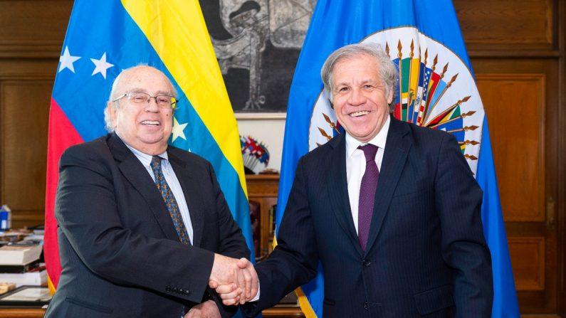 Gustavo Tarre entrega al secretario general de la Organización de Estados Americanos (OEA), Luis Almagro, sus cartas credenciales como embajador de Venezuela ante el organismo. (OEA)