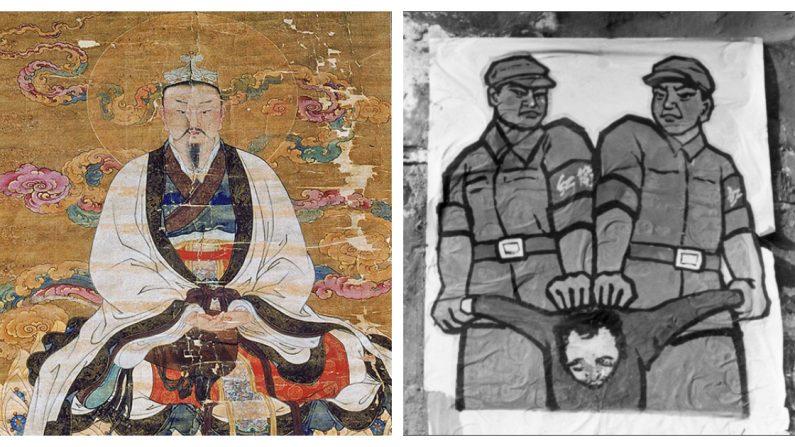 Imagen ilustrativa que muestra la diferencia cultural en China, antes y después de la llegada del Partido Comunista Chino.  (Izq: Cortesía de Shen Yun | Der: La Gran Época)