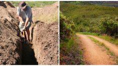 Héroe cava sin ayuda un camino de 15 km con sus manos para facilitar el viaje a pie de los aldeanos