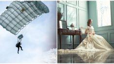 Novia de soldado de la II Guerra Mundial diseña su vestido de bodas con el paracaídas que lo salvó