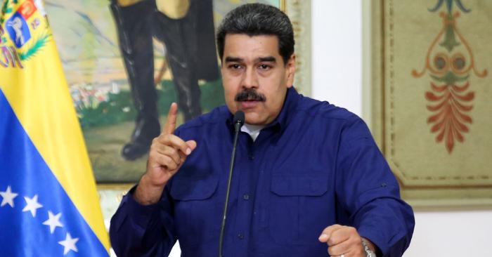 Nicolás Maduro hablando durante una conferencia de prensa en el Palacio Presidencial de Miraflores en Caracas, Venezuela, el 11 de marzo de 2019. Foto de MARCELO GARCIA/AFP/Getty Images.