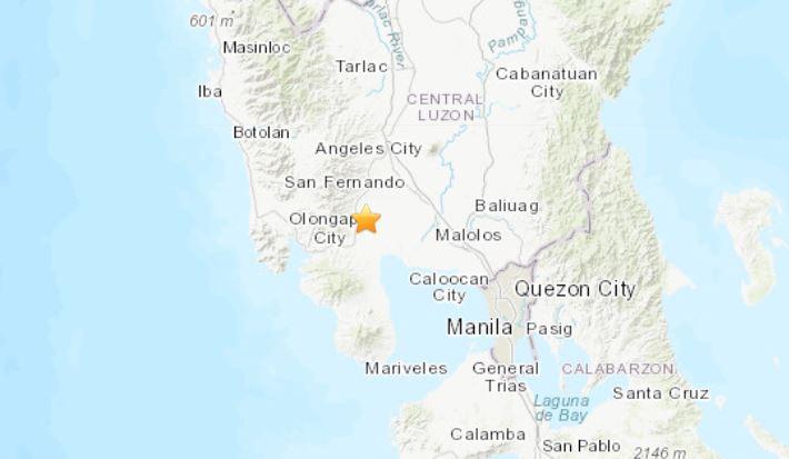 Terremoto en Filipinas  estimado por el Servisio de Geofísica de EE.UU. en 6,3 grados  el 22 de abril de 2019 a las9:18. (USGS)