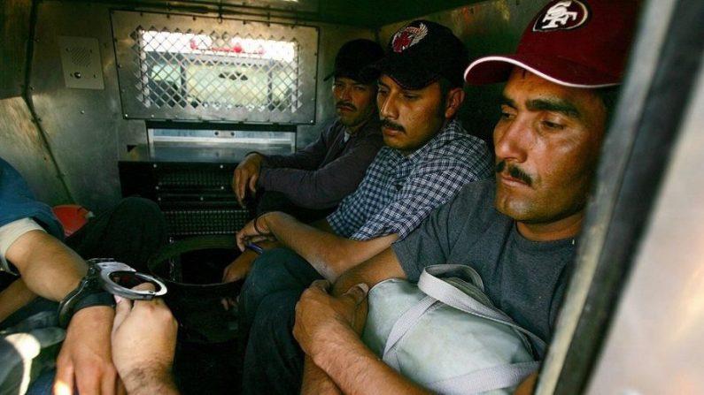 Quitan las esposas a un presunto inmigrante ilegal cuando lo colocan en la parte trasera de un vehículo de la patrulla fronteriza de la Aduana y Protección Fronteriza de EE.UU. después de haber sido detenido en el lado de California del Río Colorado cerca de Yuma, Arizona, el 17 de marzo de 2006. (David McNew/Getty Images)
