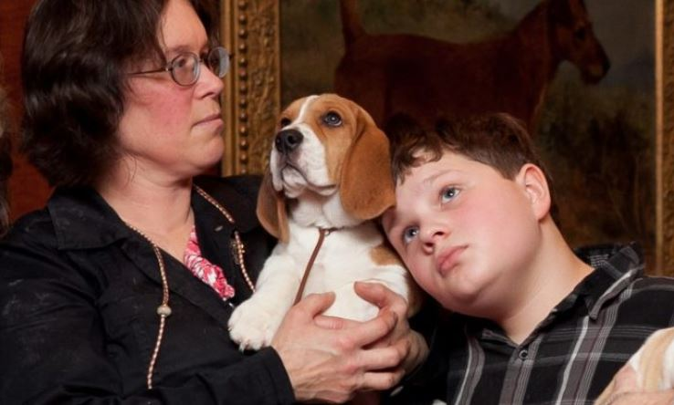 Un beagle con su dueño. (Samira Bouaou /La Gran Época)